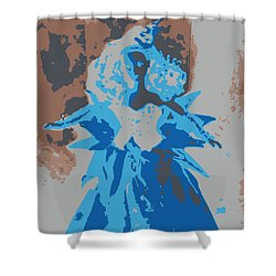 Blue Sunflower Barbie Shower Curtain