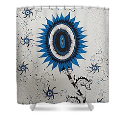 Blue Sunflower Shower Curtain