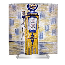 Shower Curtain featuring the painting Blue Sunoco Gas Pump by Kathy Marrs Chandler