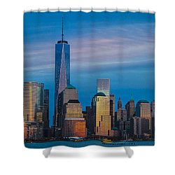 Blue Sunset At The World Trade Center Shower Curtain
