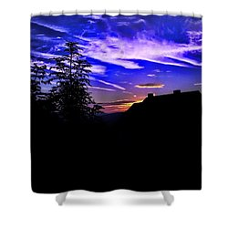 Shower Curtain featuring the photograph Blue Sunset In Poland by Mariola Bitner