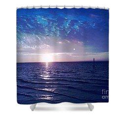 Blue Sunset Shower Curtain by Vicky Tarcau