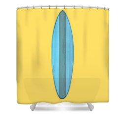 Shower Curtain featuring the digital art Blue Surf Board by Edward Fielding