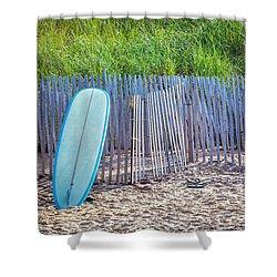 Blue Surfboard At Montauk Shower Curtain