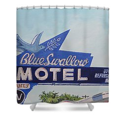 Blue Swallow Shower Curtain