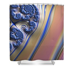 Shower Curtain featuring the digital art Blue Swirly Fractal 2 by Bonnie Bruno