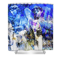 Blue Symphony Of Angels Shower Curtain