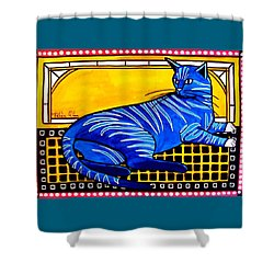 Shower Curtain featuring the painting Blue Tabby - Cat Art By Dora Hathazi Mendes by Dora Hathazi Mendes