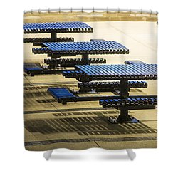 Blue Tables-6747a Shower Curtain