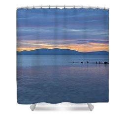 Blue Tahoe Sunset Shower Curtain by Mitch Shindelbower