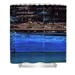 Blue Tanker Shower Curtain