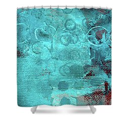 Shower Curtain featuring the painting Blue Textures by Nancy Merkle