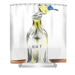 Blue Tit Loves The Cream Shower Curtain