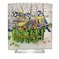 Blue Tits In Leaf Nest Shower Curtain by EB Watts