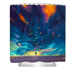 Blue Tornado Shower Curtain