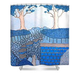Blue Trees Shower Curtain