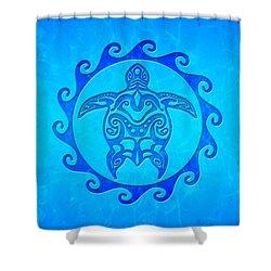 Blue Tribal Turtle Sun Shower Curtain