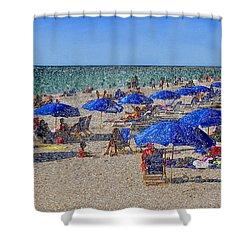 Blue Umbrella  Beach Shower Curtain by David Lee Thompson