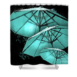 Blue Umbrella Splash Shower Curtain