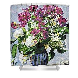 Blue Vase Arrangement Shower Curtain