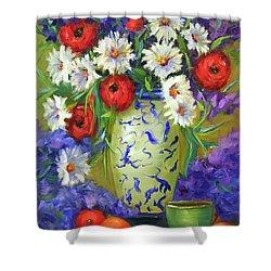 Blue Vase Flowers Shower Curtain