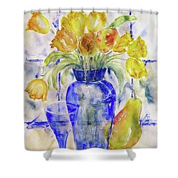 Shower Curtain featuring the painting Blue Vase by Jasna Dragun