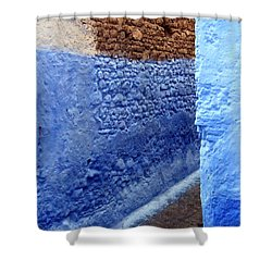 Shower Curtain featuring the photograph Blue Walls Of Chefchaouen by Ramona Johnston