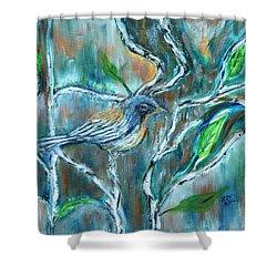 Blue Warbler In Birch Shower Curtain