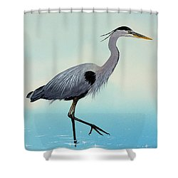 Shower Curtain featuring the painting Blue Water Heron by James Williamson