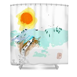 Blue Waterfalll Shower Curtain