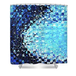 Shower Curtain featuring the painting Blue Wave Art - Pieces 7 - Sharon Cummings by Sharon Cummings