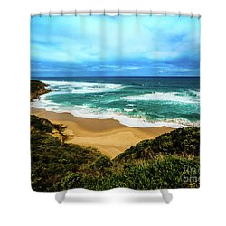 Shower Curtain featuring the photograph Blue Wave Beach by Perry Webster