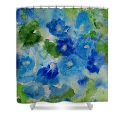 Blue Wet On Wet Shower Curtain by Jamie Frier