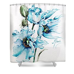 Shower Curtain featuring the painting Blue Wind by Anna Ewa Miarczynska