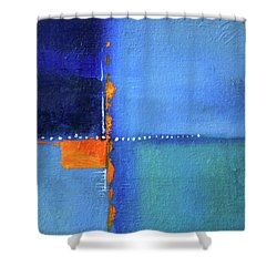 Shower Curtain featuring the painting Blue Window Abstract by Nancy Merkle