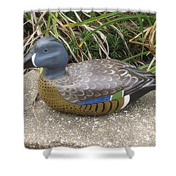 Shower Curtain featuring the sculpture Blue-winged Duck by Kevin F Heuman