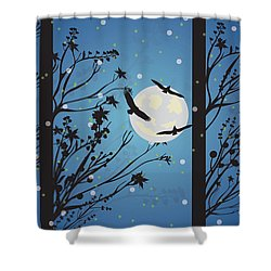 Shower Curtain featuring the digital art Blue Winter Moon by Kim Prowse