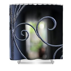Blue Wrought Iron Scroll Shower Curtain