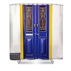 Blue Yellow Door Shower Curtain