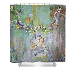 Shower Curtain featuring the painting Bluebell Fairies by Judith Desrosiers