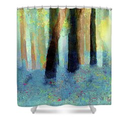 Shower Curtain featuring the painting Bluebell Wood By V.kelly by Valerie Anne Kelly