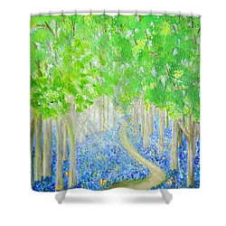 Bluebell Wood With Butterflies Shower Curtain