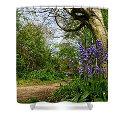 Bluebells By The Tree Shower Curtain