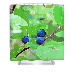 Blueberries Halftone Shower Curtain by Cathy Mahnke