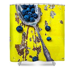 Blueberries In Silver Spoon Shower Curtain by Garry Gay