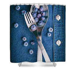 Blueberries On Denim II Shower Curtain by Tom Mc Nemar