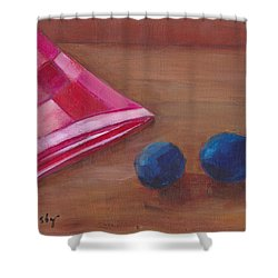 Shower Curtain featuring the painting Blueberries With Red Napkin by Patricia Cleasby