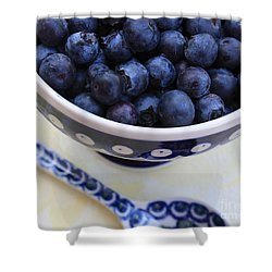 Blueberries With Spoon Shower Curtain by Carol Groenen