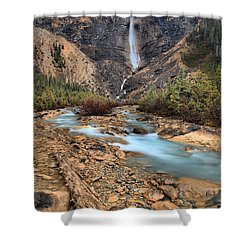 Shower Curtain featuring the photograph Blueberry Blue Waters Under Takakkaw Falls by Adam Jewell