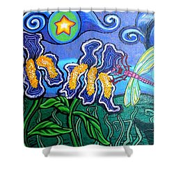 Bluebird Dragonfly And Irises Shower Curtain by Genevieve Esson